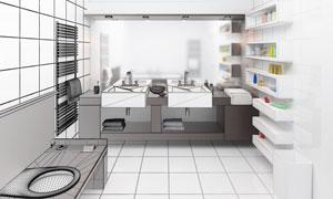 卫生间内部装修渲染图设计高清图片