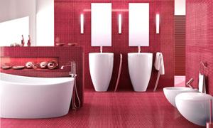 红白配色的卫生间装潢效果高清图片