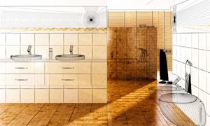 卫生间内部效果渲染图主题高清图片