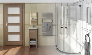 房门紧闭的卫生间渲染效果高清图片