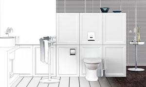 房间洗手池与马桶渲染效果高清图片