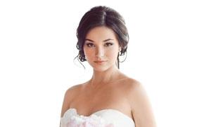 双手拿花束的新娘人物摄影高清图片
