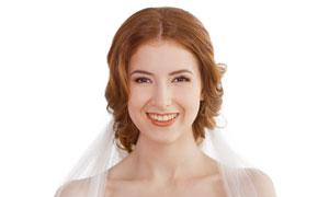 幸福笑容白纱新娘人物摄影高清图片