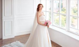 房间里拿着捧花的新娘摄影高清图片