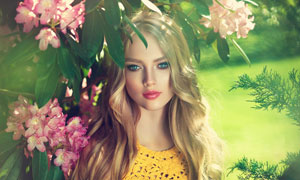 花枝下的蓝眼长发美女摄影高清图片