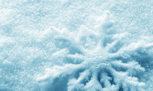 雪地上的雪花图案特写摄影高清图片