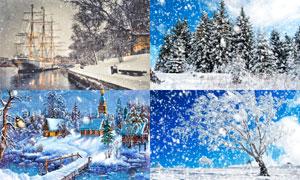 壮观的冬季暴风雪动画效果PS动作