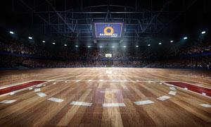 高上座率篮球赛场渲染效果高清图片