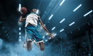 跃在半空中的灌篮男子摄影高清图片