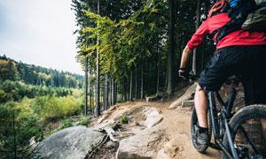 欲穿越山间树林的骑行人物高清图片