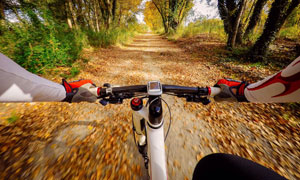 骑车人物第一人称视角沿途风景图片