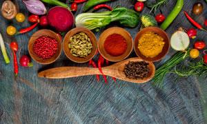 蔬菜与天然调味料特写摄影高清图片