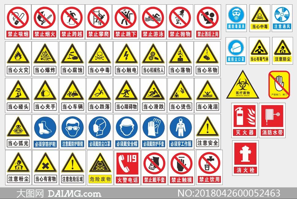 公共安全标志标识大全矢量素材