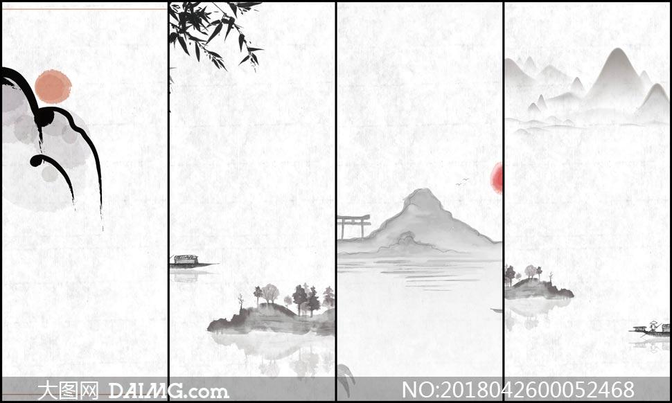 中国风古风山水画海报背景矢量素材