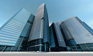 蓝天城市建筑仰拍视角摄影高清图片
