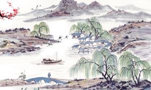 中国风山水画电视背景墙PSD源文件