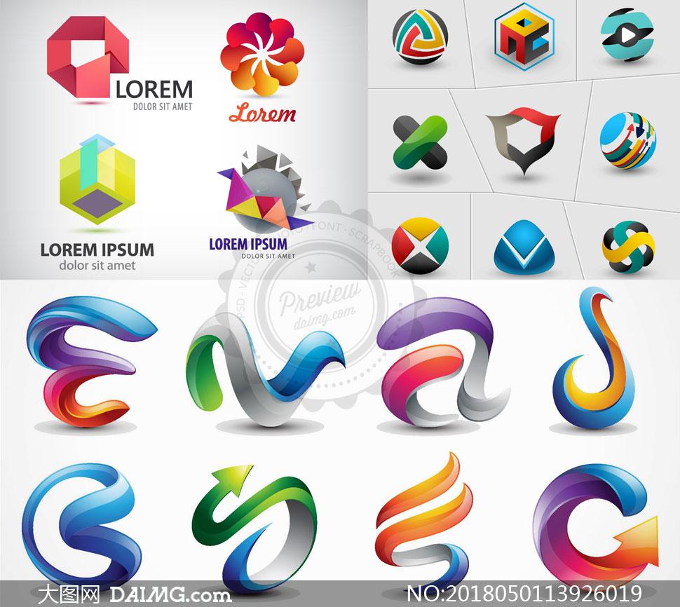 创意设计设计元素logo设计标志设计几何缤纷多彩炫彩立体抽象图形图案
