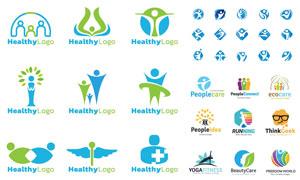 运动健康主题人形元素标志矢量素材