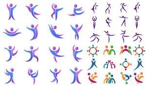 多種姿勢動作小人元素標志矢量素材