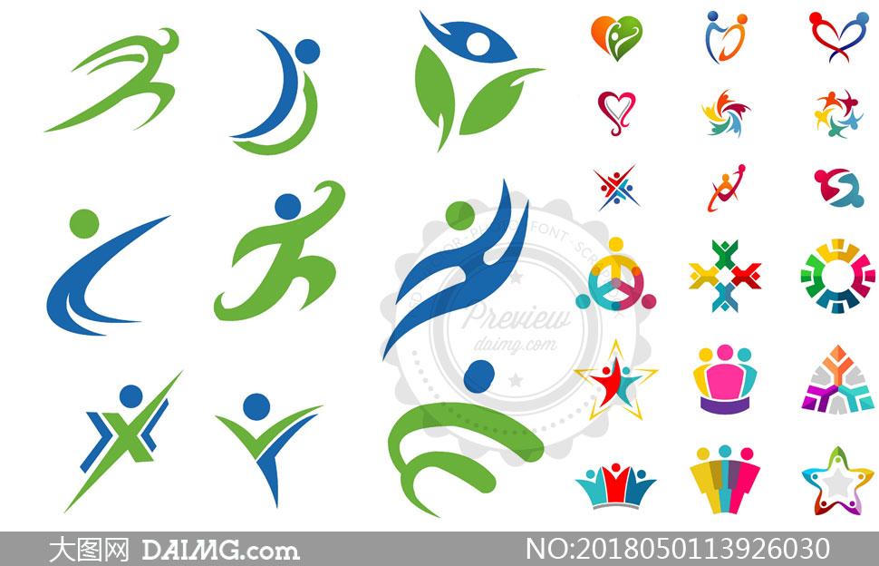 多彩人形元素标志创意设计矢量素材