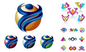 立體球體與人形等元素標志矢量素材