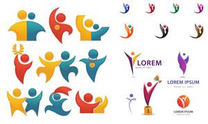 获奖的小人等标志创意设计矢量素材