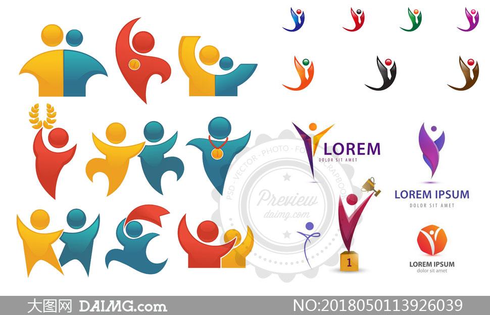 创意设计标志设计logo设计缤纷多彩炫彩抽象图形图案人形小人姿势姿态