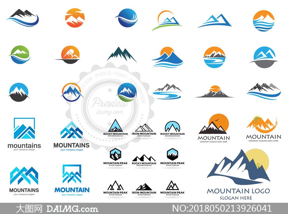 山峰图形元素标志创意设计矢量素材