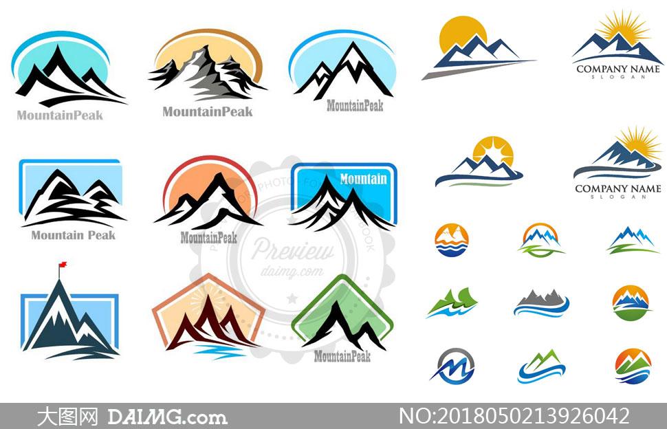 连绵起伏山峰元素标志创意矢量素材