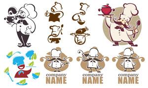 卡通效果厨师人物标志矢量素材V03