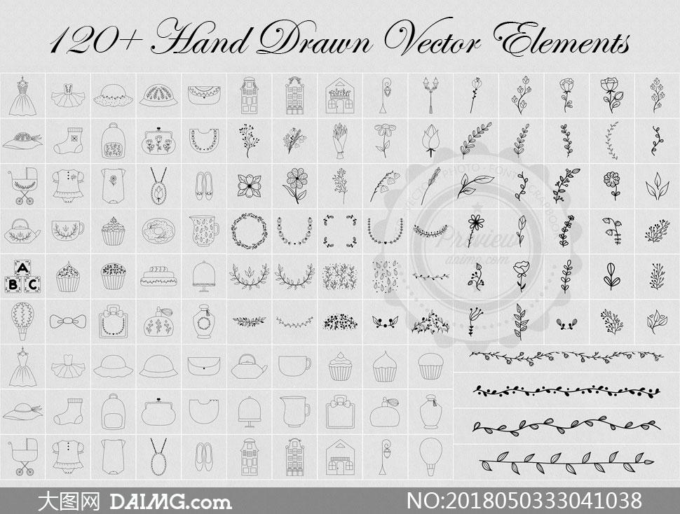 手绘黑白服装效果图_黑白双色120余款手绘元素矢量素材_大图网图片素材
