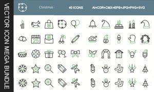 40款圣诞主题图标创意设计矢量素材