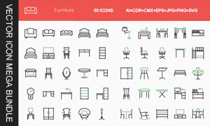 50款家具产品图标创意设计矢量素材