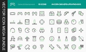 游戏娱乐主题线条风格图标矢量素材