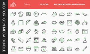 面包糕点烘焙主题图标创意矢量素材