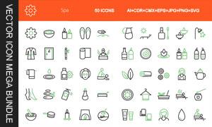 50款SPA用品主题图标创意矢量素材