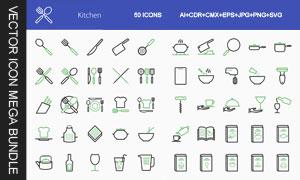 厨房用品与食谱等图标设计矢量素材