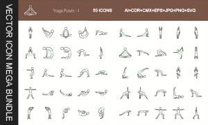 瑜伽运动体式主题图标创意矢量素材