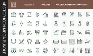 博物馆展览馆等图标设计创意矢量图
