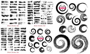 黑白飞白效果墨迹元素创意矢量素材
