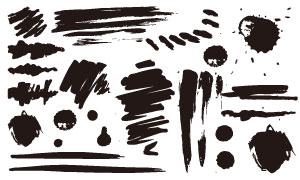 飞白笔触与墨迹喷溅等元素矢量素材