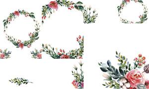 水彩风格红花绿叶装饰边框矢量素材