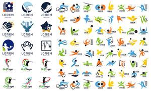多种体育运动人形元素标志矢量素材
