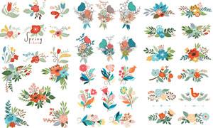 春天适用花草装饰图案设计矢量素材