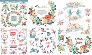 小鳥飄帶花草裝飾元素創意矢量素材