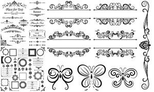 黑白边框与花纹装饰分割线矢量素材