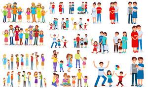 扁平风格家庭人物主题创意矢量素材