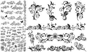 黑白装饰适用藤蔓花纹创意矢量素材