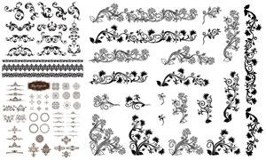 分割线与黑白藤蔓花纹图案矢量素材