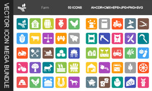 禽畜与农机等农业生产图标矢量素材